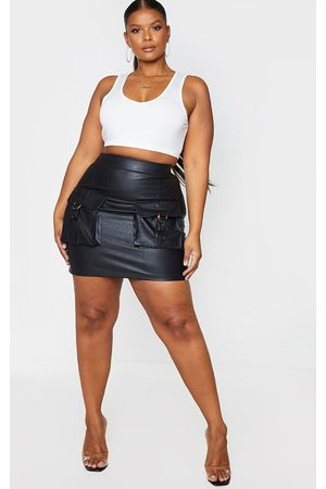PRETTYLITTLETHING Plus Faux Leather Buckle Detail Bodycon Skirt