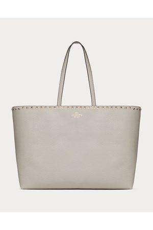 VALENTINO GARAVANI Large Grain Calfskin Leather Rockstud Shopping Bag Women Opal Grey OneSize