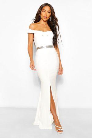 Boohoo Womens Off The Shoulder Split Front Maxi Dress - - 4