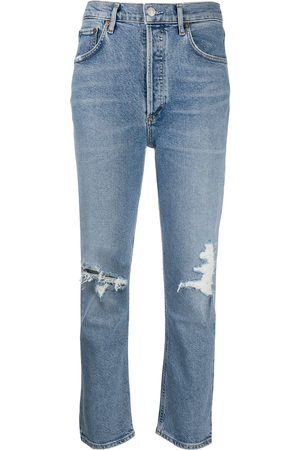 AGOLDE Ripped high-rise cropped jeans