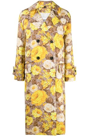 Msgm Floral pattern trench coat - Neutrals
