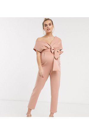 ASOS ASOS DESIGN Maternity fallen shoulder scuba jumpsuit in blush