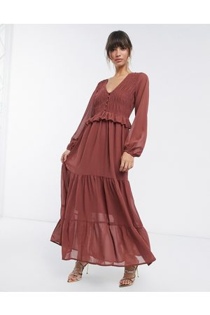ASOS Shirred ruffle tiered maxi dress in