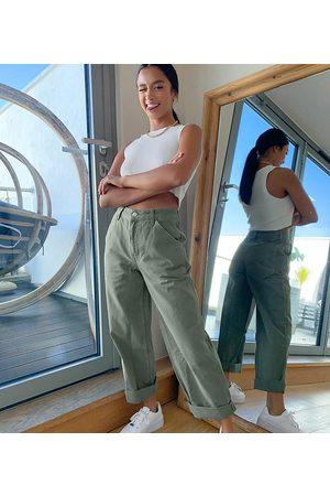 ASOS ASOS DESIGN Petite slouchy chino pants in khaki
