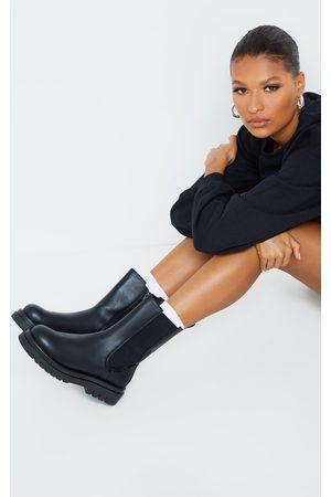PRETTYLITTLETHING PU Calf High Vamp Chelsea Boots