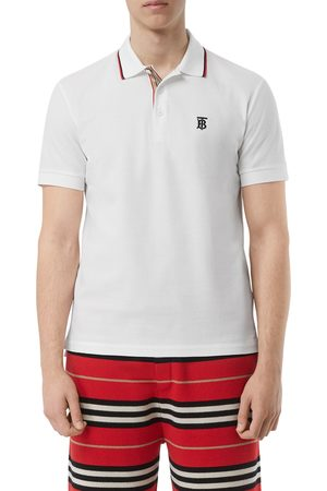 Burberry Men's Walton Tb Embroidered Short Sleeve Cotton Pique Polo