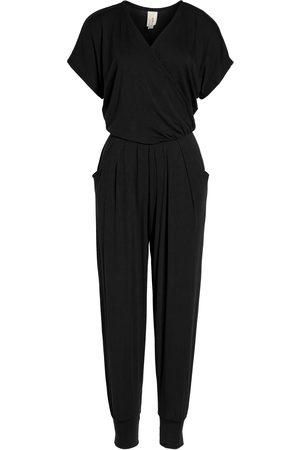 Loveappella Petite Women's Short Sleeve Wrap Top Jumpsuit