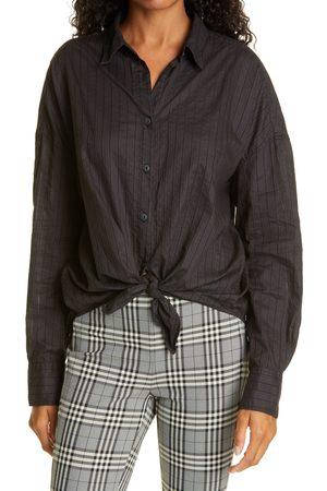 RAG&BONE Women's Textured Stripe Tie Front Cotton Button-Up Shirt