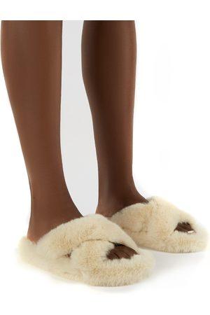 Public Desire Women Slippers - Snuggles Fluffy Faux Fur Slippers - US 6