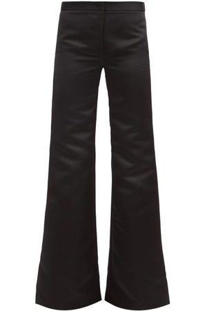 HALPERN Flared High-rise Duchess-satin Trousers - Womens