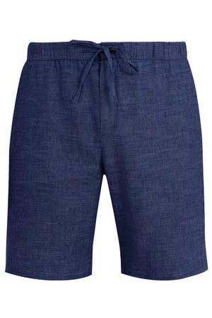 Frescobol Carioca Drawstring-waist Slim-leg Linen-blend Shorts - Mens - Navy