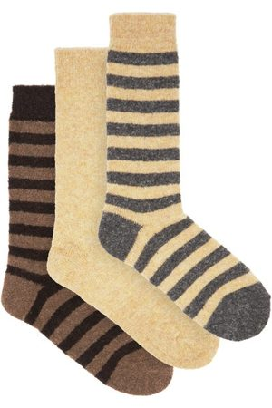 HOWLIN' Pack Of Three Striped And Plain Wool-blend Socks - Mens - Multi