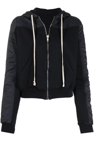 Rick Owens DRKSHDW Drawstring zip hoodie with contrasting textures