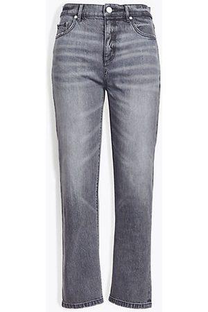 LOFT High Rise Straight Crop Jeans in Grey Wash