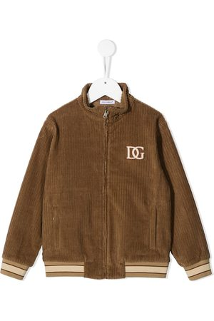Dolce & Gabbana Corduroy embroidered logo jacket - Neutrals