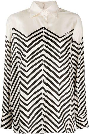 VALENTINO Chevron-print silk shirt - Neutrals