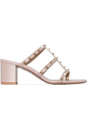 VALENTINO GARAVANI Rockstud 60mm leather sandals - Neutrals