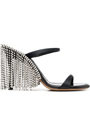 AREA Crystal fringed sandals