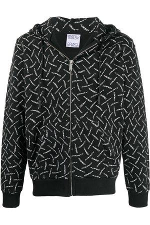 MARCELO BURLON Drawstring-hood zip-fastening sweatshirt