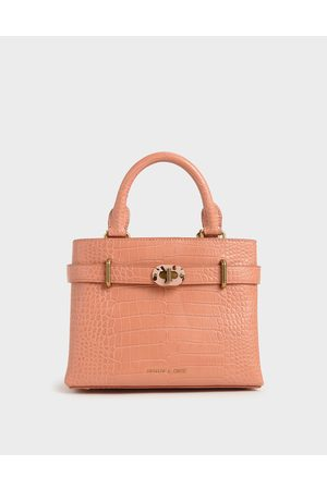 CHARLES & KEITH Women Tote Bags - Croc-Effect Turn-Lock Tote Bag