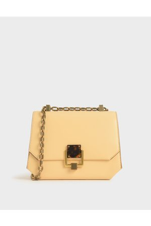 CHARLES & KEITH Women Shoulder Bags - Chain Handle Geometric Crossbody Bag