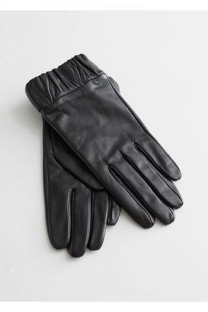 & OTHER STORIES Ruched Cuff Leather Gloves