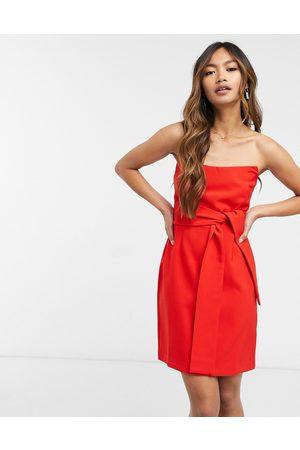 Vesper Bandeau mini dress with bow detail in
