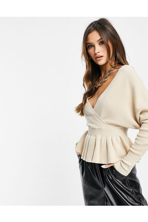Liquorish Wrap front knitted top with frill in oatmeal