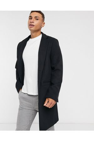 ASOS Wool mix overcoat with inverted lapel in