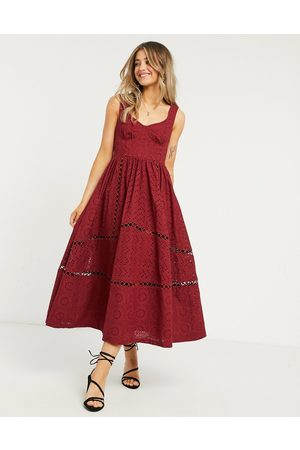 ASOS Women Party Dresses - Broderie cupped midi skater prom dress in oxblood