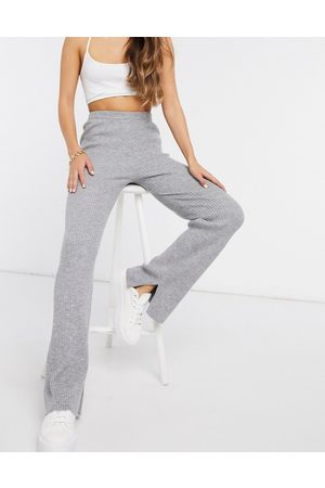 M Lounge Relaxed wide leg pants in rib knit