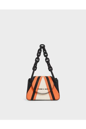 CHARLES & KEITH Bags - Striped Chunky Chain Handle Mini Bag