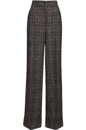 Dolce & Gabbana High Waist Check Wide Leg Pants