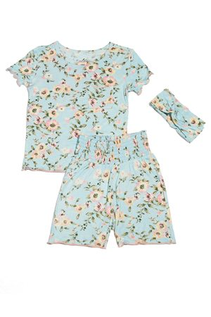 Baby Grey by Everly Grey Infant Girl's Bella Fitted Two-Piece Short Pajamas & Head Wrap Set