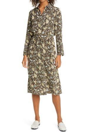 CLUB MONACO Women's Floral Long Sleeve Drawstring Waist Silk Satin Shirtdress