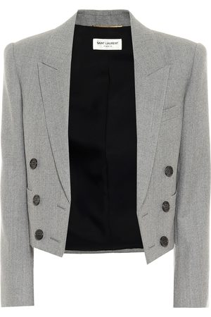 Saint Laurent Cropped wool twill blazer