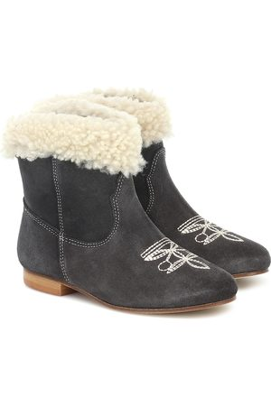 BONPOINT Phénix shearling-trimmed suede ankle boots