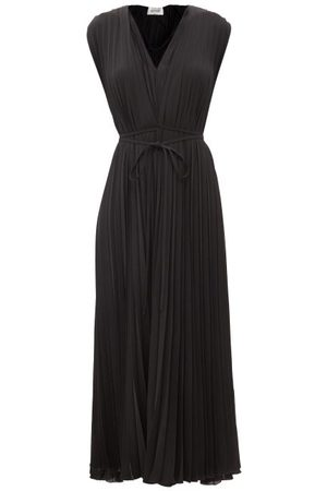 VALENTINO Pleated Silk-georgette Midi Dress - Womens