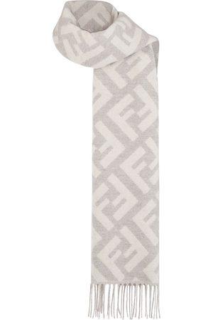 Fendi Women Scarves - Cashmere long FF logo scarf - Neutrals