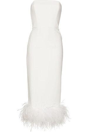 16Arlington Women Strapless Dresses - Minelli feather-trim strapless midi dress