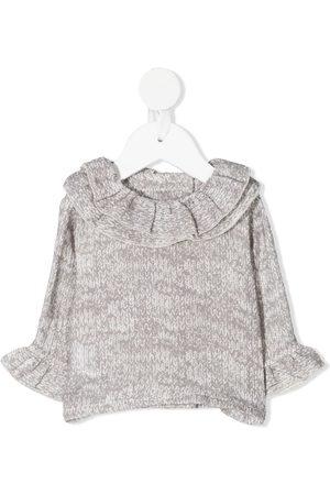 Violeta e Federico Batik-print ruffle blouse - Grey