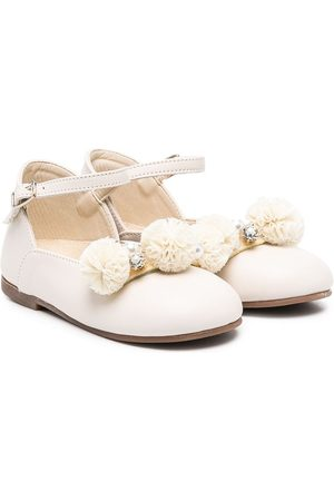 Babywalker Pompom-embellished ballerina shoes - Neutrals
