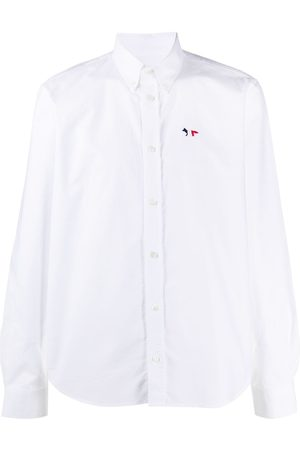 Maison Kitsuné Logo-embroidered long sleeved shirt