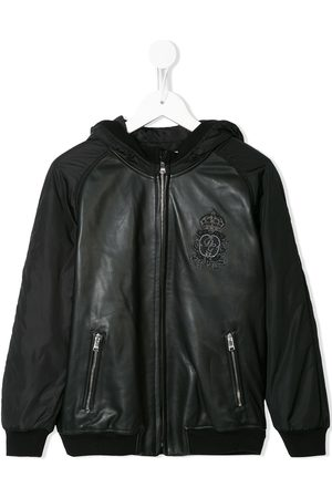Dolce & Gabbana Logo patch hooded bomber jacket