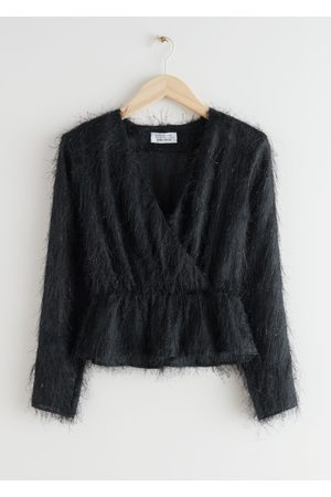 & OTHER STORIES Fuzzy Jacquard Wrap Top
