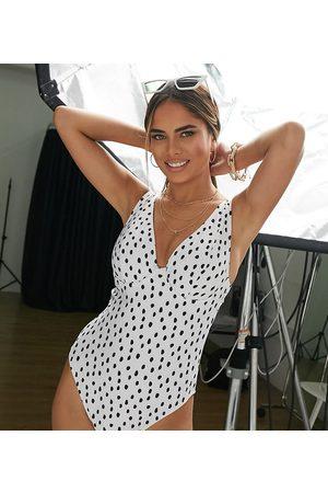 Peek & Beau Women Swimsuits - Fuller Bust Exclusive underwire swimsuit in white polka dot-Multi