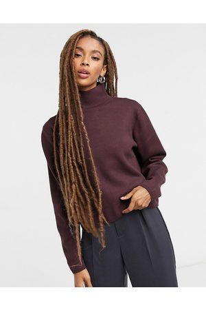& OTHER STORIES & high-neck knitted sweater in burgundy