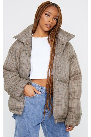 PRETTYLITTLETHING Check Oversized Quilted Large Collar Puffer Coat