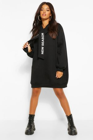 Boohoo Womens Hooded Slogan Tape Sweatshirt Dress - - 4