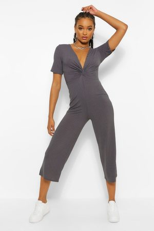 Boohoo Womens Ribbed Twist Front Culotte Jumpsuit - - 4